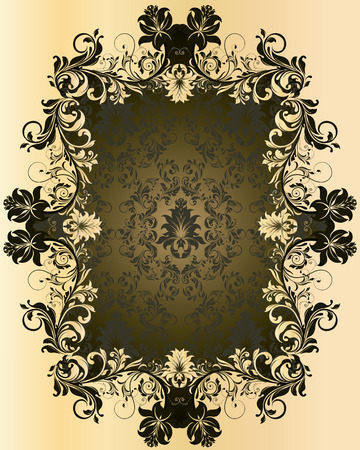 flesh: Vintage background with ornate elegant abstract floral design, olive green and flesh. Vector illustration.