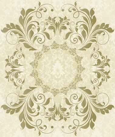 flesh: Vintage background with ornate elegant abstract floral design, gray on flesh. Vector illustration. Illustration