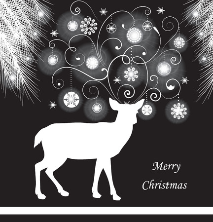 pine needles: Vintage Christmas card with ornate elegant abstract floral design, white on black with reindeer, Christmas balls, stars, snowflakes and pine needles. Vector illustration.