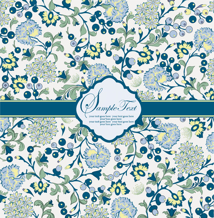 Vintage invitation card with ornate elegant abstract floral design, multi-colored flowers on gray with azure blue ribbon. Vector illustration.