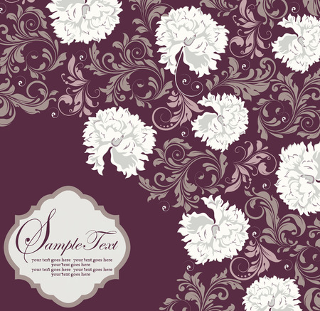 Vintage invitation card with ornate elegant abstract floral design, white and gray flowers on purple. Vector illustration. Vector