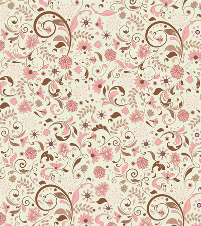 pale yellow: Vintage background with ornate elegant abstract floral design, pink and brown flowers on pale yellow. Vector illustration.