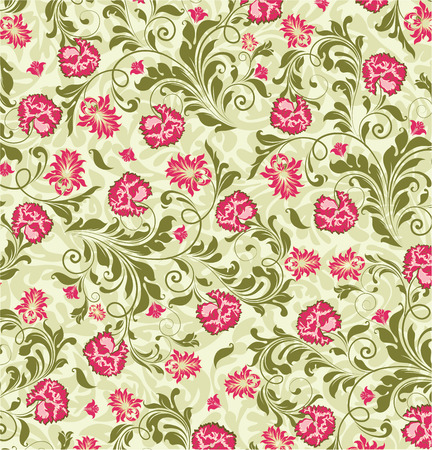 fuschia: Vintage background with ornate elegant abstract floral design, fuschia pink and olive green flowers on pale green. Vector illustration.