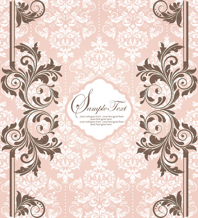 Vintage invitation card with ornate elegant abstract floral design, brown and white flowers on pink. Vector illustration.