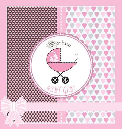 bebes niñas: Vintage tarjeta de invitación Baby Shower con diseño adornado elegante retro abstracto floral, azul claro con el carro de bebé, cinta, lunares y corazones. Ilustración del vector.
