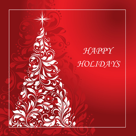Vintage Christmas card with ornate elegant abstract floral design, red and white with Christmas tree. Vector illustration