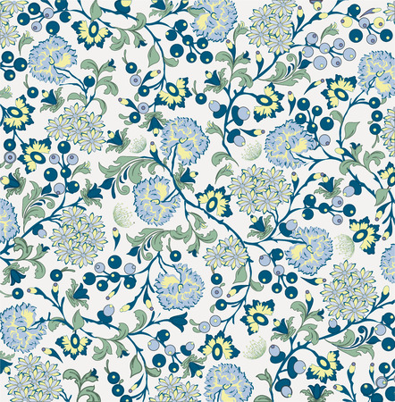 Vintage background with ornate elegant abstract floral design, multi-colored flowers on gray. Vector illustration.