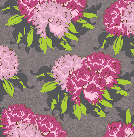 fuschia: Vintage background with ornate elegant abstract floral design, fuschia and pink flowers on gray. Vector illustration. Illustration