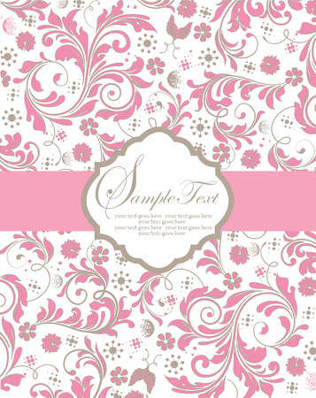 gray: Vintage invitation card with ornate elegant abstract floral design, pink and gray flowers on white background with ribbon. Vector illustration.