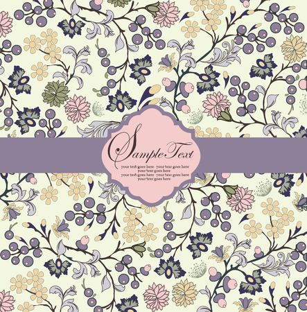 Vintage invitation card with ornate elegant abstract floral design, multi-colored flowers on light green background with purple ribbon. Vector illustration. Illustration