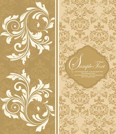 плоть: Vintage пригласительный билет с богато элегантный абстрактного цветочный дизайн, плоти и коричневых цветов. Векторная иллюстрация.