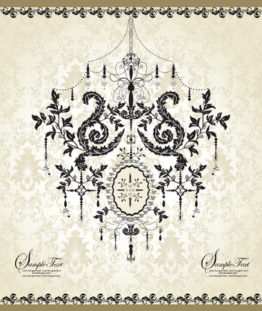 Vintage invitation card with ornate elegant abstract floral design, black on gray with chandelier. Vector illustration. Illustration
