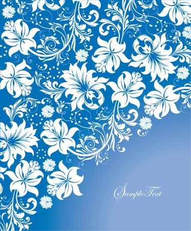 Vintage invitation card with ornate elegant abstract floral design, white flowers on blue background. Vector illustration. Vector