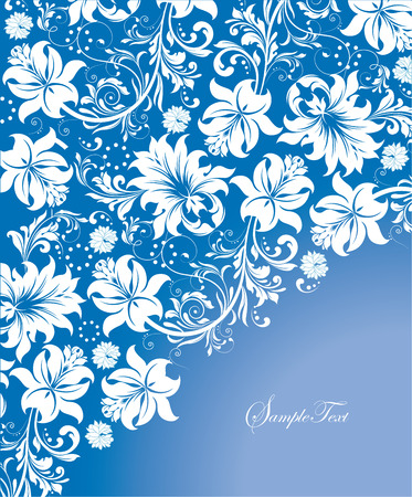Vintage invitation card with ornate elegant abstract floral design, white flowers on blue background. Vector illustration.