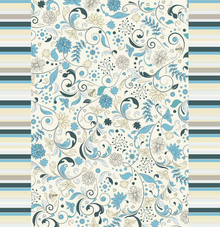 Vintage background with ornate elegant retro abstract floral design, light blue and pale yellow flowers on white background with stripes. Vector illustration.