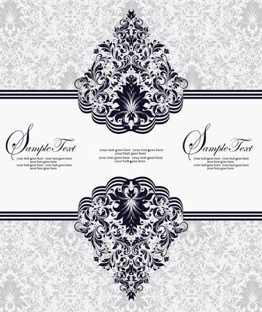Vintage invitation card with ornate elegant abstract floral design, midnight blue flowers on light gray. Vector illustration. Illustration