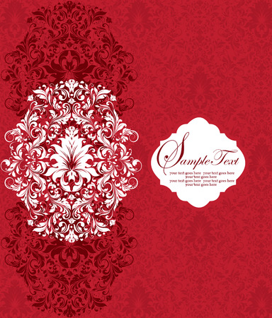 Vintage invitation card with ornate elegant abstract floral design, white and red flowers. Vector illustration.