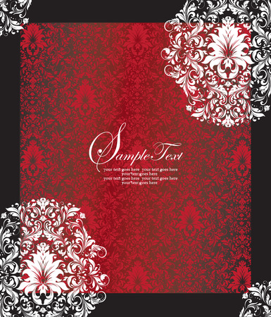 royal wedding: Vintage invitation card with ornate elegant abstract floral design, white and red flowers on black background with frame. Vector illustration. Illustration