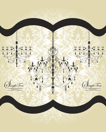 flesh: Vintage invitation card with ornate elegant abstract floral design, dark gray chandeliers on desert sand flesh background with ribbon. Vector illustration.
