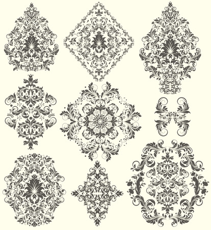 Vintage background elements with ornate elegant abstract floral design, dark gray flowers on pale yellow background. Vector illustration.