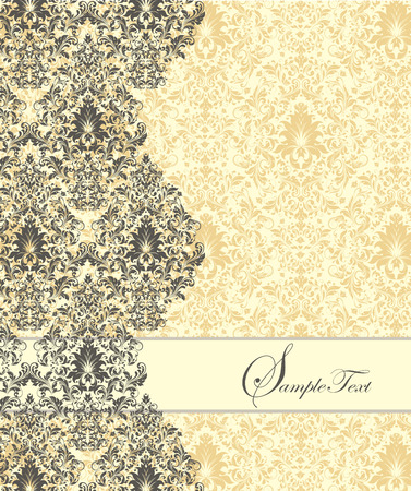 pale yellow: Vintage invitation card with ornate elegant abstract floral design, gray and flax yellow on pale yellow background. Vector illustration.