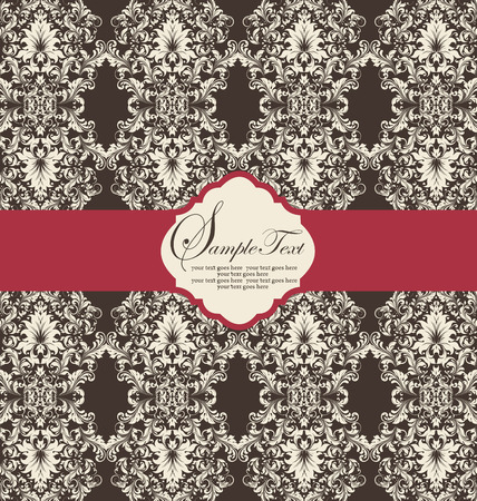 Vintage invitation card with ornate elegant abstract floral design, white flowers on brown background with red ribbon. Vector illustration.