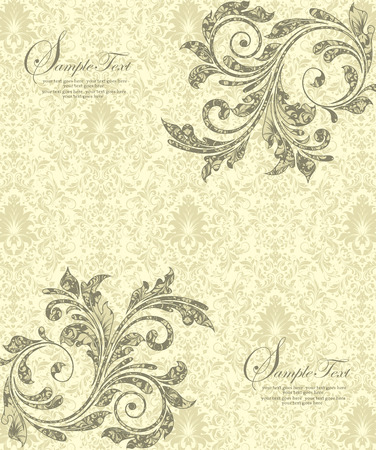 yellow card: Vintage invitation card with ornate elegant abstract floral design, gray flowers on light gray and pale yellow background. Vector illustration.