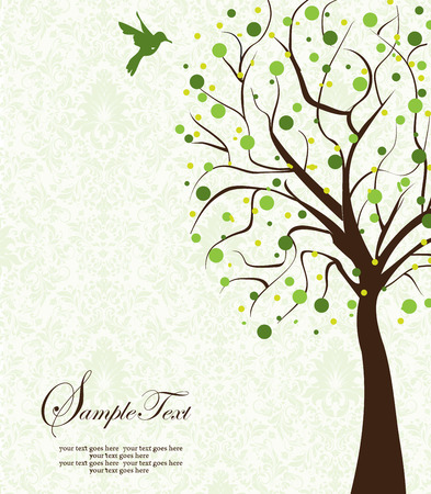 animal themes: Vintage invitation card with ornate elegant abstract floral tree design, brown tree with green and yellow green flowers on light green background with bird. Vector illustration. Illustration