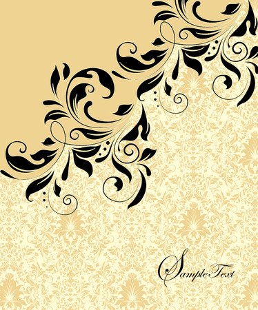 flax: Vintage invitation card with ornate elegant abstract floral design, black flowers on flax yellow background. Vector illustration.