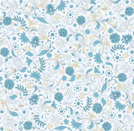 pale yellow: Vintage background with ornate elegant retro abstract floral design, light blue and pale yellow flowers on white background. Vector illustration.
