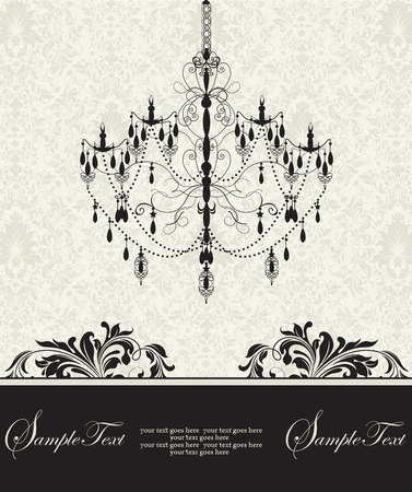 Vintage invitation card with ornate elegant abstract floral design, black on light green with chandelier. Vector illustration.