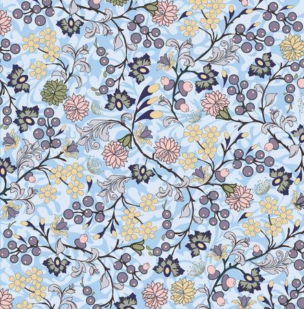 Vintage background with ornate elegant retro abstract floral design, multi-colored flowers on light blue background. Vector illustration.