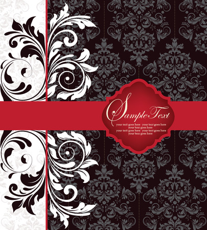 royal wedding: Vintage invitation card with ornate elegant abstract floral design, white and black flowers with red ribbon. Vector illustration. Illustration
