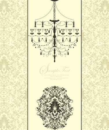 pale yellow: Vintage invitation card with ornate elegant abstract floral design, black and yellow green flowers on pale yellow with chandelier. Vector illustration.