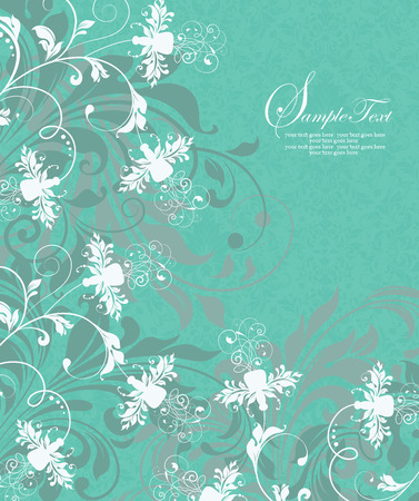 groene bloemen: Vintage invitation card with ornate elegant abstract floral design, white and teal green flowers on aquamarine background. Vector illustration.