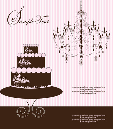 pink stripes: Vintage invitation card with ornate elegant abstract design, brown chandelier and three-layer cake on pink stripes. Vector illustration.