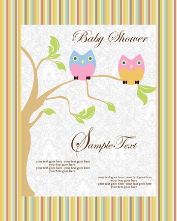 Vintage baby shower invitation card with ornate elegant retro abstract floral tree design, tree with baby blue and pink owls on striped background. Vector illustration. Illustration