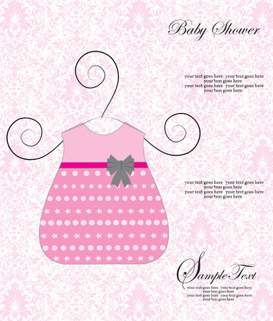 vintage baby: Vintage baby shower invitation card with ornate elegant retro abstract floral design, pink dress with gray ribbon on pale pink and white background. Vector illustration.