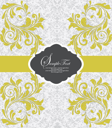 yellow card: Vintage invitation card with ornate elegant abstract floral design, pear yellow flowers on pale green background with ribbon. Vector illustration.