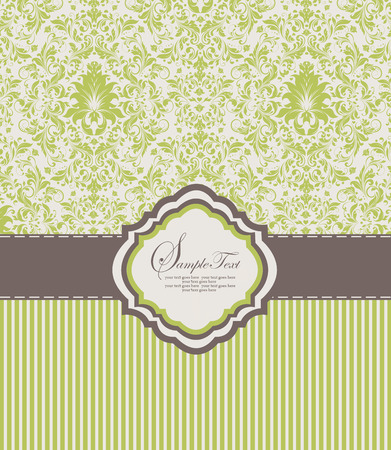 yellow card: Vintage invitation card with ornate elegant abstract floral design, yellow green flowers on white background with stripes and gray ribbon. Vector illustration. Illustration