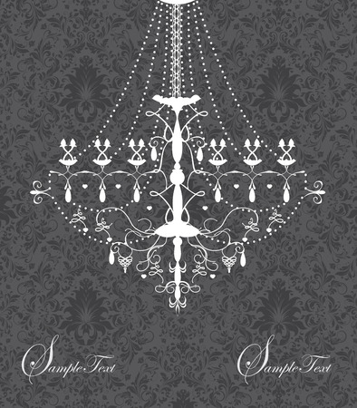 Vintage invitation card with ornate elegant abstract floral design, black flowers on gray background with chandelier. Vector illustration.