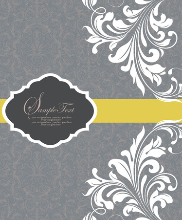 yellow vector: Vintage invitation card with ornate elegant abstract floral design, white flowers on bluish gray background with yellow ribbon. Vector illustration. Illustration
