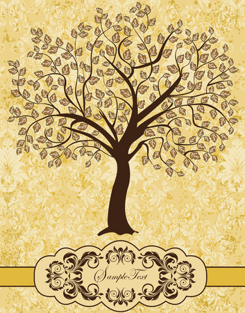 tree illustration: Vintage invitation card with ornate elegant retro abstract floral tree design, brown tree on pastel yellow background with ribbon. Vector illustration.