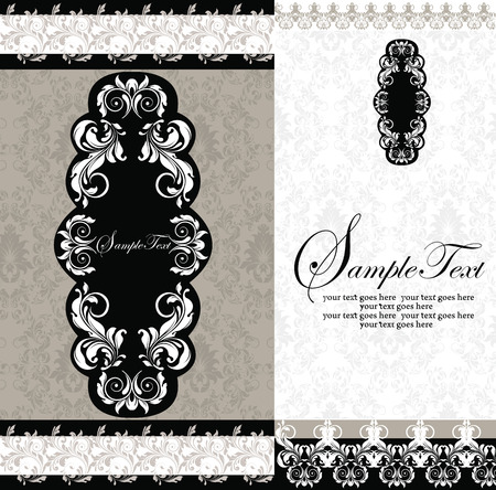 greenish: Vintage invitation card with ornate elegant abstract floral design, black and greenish gray flowers with borders. Vector illustration. Illustration