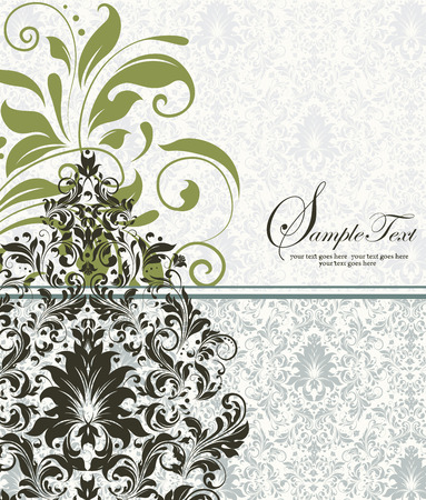 greenish: Vintage invitation card with ornate elegant abstract floral design, olive green and greenish brown flowers on pale green and white background. Vector illustration.