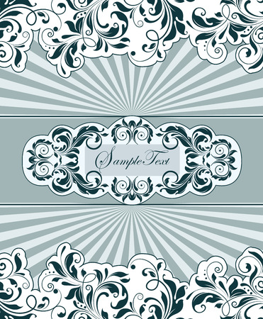 greenish blue: Vintage invitation card with ornate elegant abstract floral design, greenish black flowers on white background with cambridge blue ribbon and rays. Vector illustration.