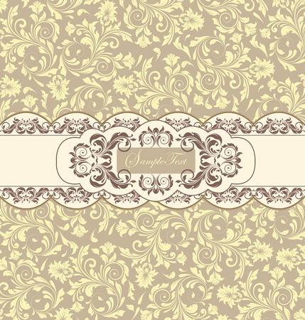 flesh: Vintage invitation card with ornate elegant abstract floral design, pale yellow flowers on gray background and brown flowers on flesh background with ribbon. Vector illustration.