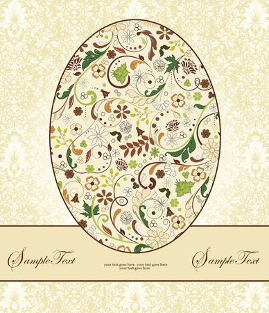 roman catholic: Vintage Easter invitation card with ornate elegant retro abstract floral design, multi-colored flowers on egg with ribbon and pale yellow and white background. Vector illustration.