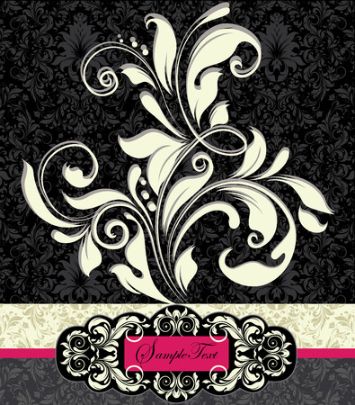 fuschia: Vintage invitation cards with ornate elegant abstract floral design, white flowers on gray and black background with fuschia pink and yellow green on white ribbon. Vector illustration.