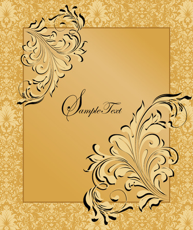Vintage invitation card with ornate elegant abstract floral design, light yellow flowers on saffron yellow background with frame. Vector illustration. Ilustrace